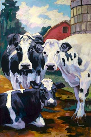 Three Cows with Barn (Here's Looking at You)